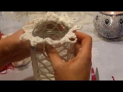 DIY-keka GRUNDMUSTER 2 ; DEKO Gläser;MARMELADEN GLAS;Einmachglas häkeln,umhäkel-UPCYCLEN
