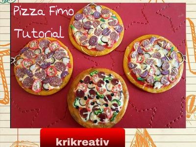 Pizza-Schlüsselanhänger aus Fimo , Tutorial -polymer clay von Krikreativ,