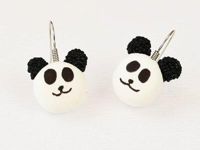 Panda Ohrringe aus Wolkenschleim und Seidenknete | Basteln mit Foam und Silk Clay
