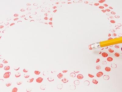Herz mit Radiergummi Stempel basteln | Geschenkidee zum Muttertag und Vatertag
