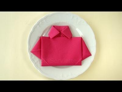 Servietten falten einfach: Hemd - Tischdeko Vatertag - Vatertagsgeschenk basteln