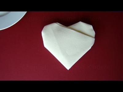 Servietten falten Herz: ❤️ Tischdeko Hochzeit basteln - DIY Tischdekoration - Deko Ideen