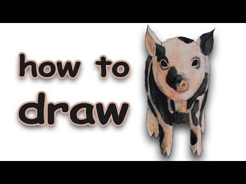 DIY | How To Draw a Pig | Watercolor pencils - Aquarellstifte | timelapse