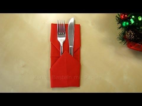 Servietten falten: Bestecktasche - Einfache Tischdeko basteln - DIY - Ostern