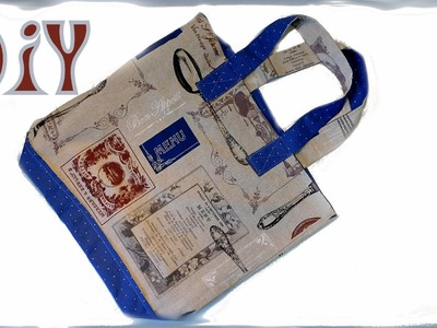 Anleitung für eine große Einkaufstasche.  DIY. Beutel- Tasche mit Innenfutter selber nähen