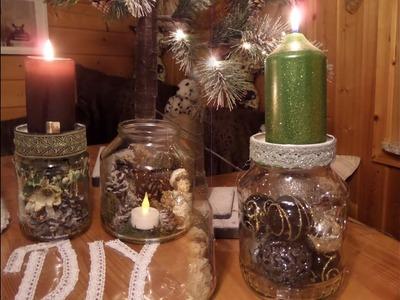 DIY: 3 Kerzenständer DEKO-GLÄSER , Adventskranz,Weihnachts- BASTELN;Upsycling ,by kekaplauderei