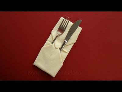 Servietten falten einfach: Bestecktasche falten  - DIY Anleitung - Tischdekoration