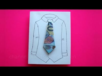 Lustige Geldgeschenke basteln - Geldschein falten Krawatte - Idee zum Geld falten - DIY Geldgeschenk