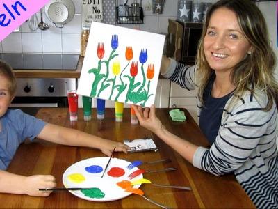 Malen mit Gabeln super schönes Tulpenbild mit Besteck malen DIY basteln TipTapTube