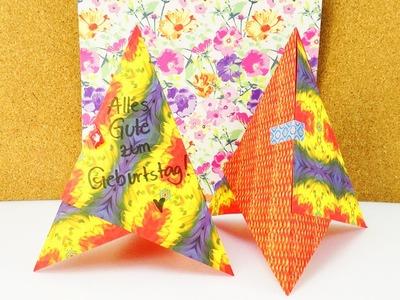 DIY 3D Geburtstagkarte | Kreativer Geburtstags Aufsteller aus Origami Papier | Pyramide