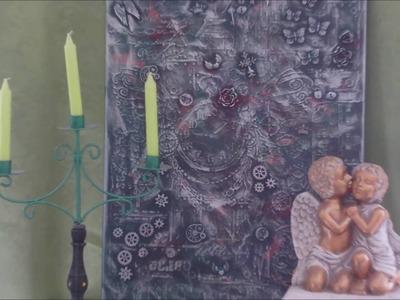 DIY - Schablonen mit Embellis in Acryl auf Leinwand im Steampunk Style