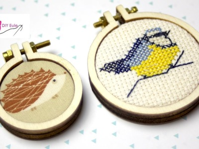 Poshy im Mini-Stickrahmen sticken - DIY Eule