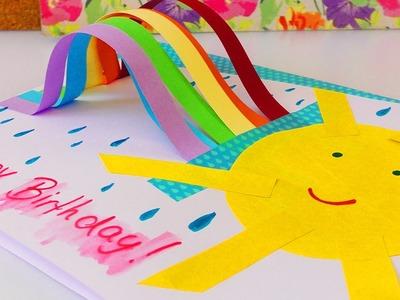 Süße Geburtstagkarte mit Regenbogen selber machen | Rainbow Birthday Card DIY Idee