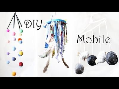 3 einfache DIY Baby Mobile Ideen ohne Nähen | Basteln aus Filzkugeln, Stoffreste, Kleiderbügel