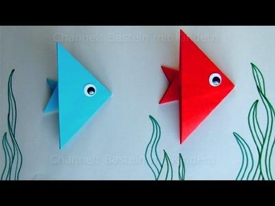Fische basteln mit Kindern - Ideen zum Geschenk basteln mit Papier - Leichten Origami Fisch falten