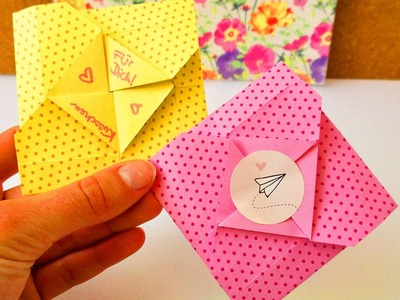 Süßer Origami Umschlag | für kleine Nachrichten zum Ausklappen | einfach & schnell | Karte falten