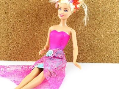 Rock für Barbie selber machen - DIY Kleidung Klamotten für Puppen