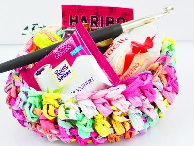 Süßen Korb aus Creativ Paper häkeln | Sommer häkeln | Super einfach & schnell für Anfänger | Idee