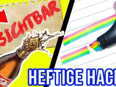 KRASSE BACK TO SCHOOL & UNI DIY HACKS im LIVE TEST! UNSICHTBARE Tinte, REGENBOGEN Textmarker