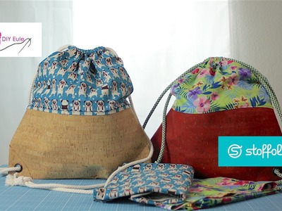 Turnbeutel mit Kork und Ösen nähen – DIY Eule & Stoffolino