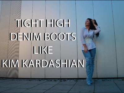 DIY Kim Kardashian's Tight High Denim Boots II Rachel Rebell