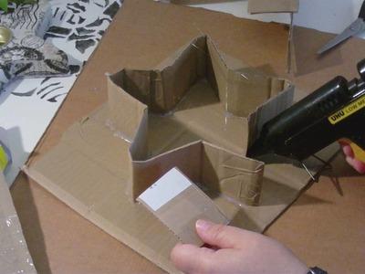 Beton giessen - DIY - stehenden Stern in einer selbst gemachten Pappform giessen.