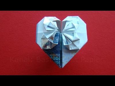 Geldschein falten Herz - Geldgeschenke basteln Hochzeit -  ❤️ Geld falten - Origami