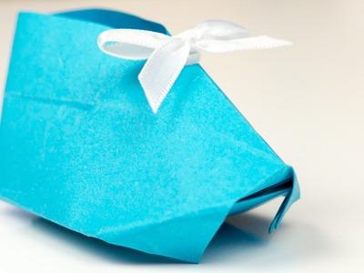 Origami Babyschuhe aus Papier falten, Bastelanleitung