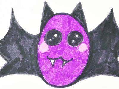 KAWAII HALLOWEEN DIY Fledermaus zeichnen | niedlichen Blutsauger mit Kulleraugen malen