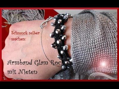 Schmuck selber machen: gewebtes Armband mit Nieten