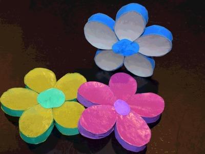 Blumen aus Papprollen basteln