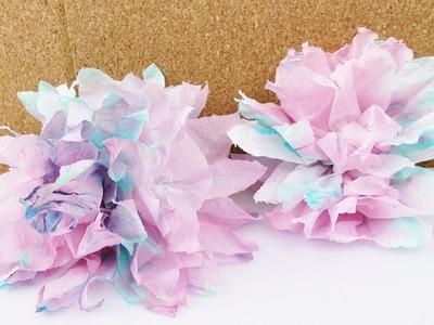 Farbexperiment mit Taschentüchern   Bunte Blumen aus gefärbten Taschentüchern