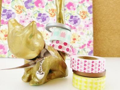 Süße Aufbewahrung für Ringe & Washi Tape | Katze aus Modelliermasse | Gold Trend Idee
