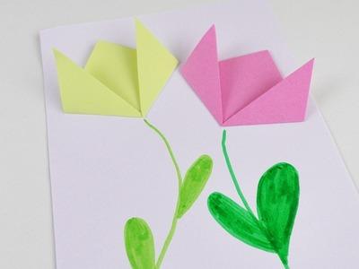 Frühlings Bild mit Papier Blumen | Deko basteln und falten | Deutsch