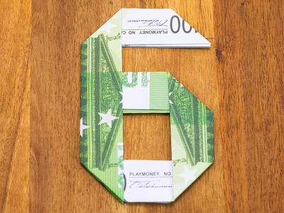 Zahl 6 aus Geldscheinen falten, Origami Geldgeschenk, Nummer 6.10