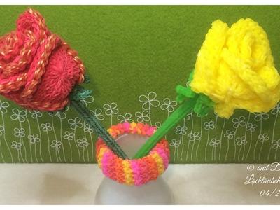 Teil 2 - Rainbow Loom 3D Rose - with englisch subtitle - von Lachtaeubchen Loom