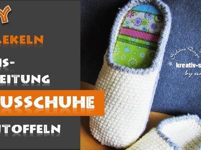 DIY Häkeln - Basisanleitung Hausschuh Pantoffel. Crochet - Basic Pattern Slippers
