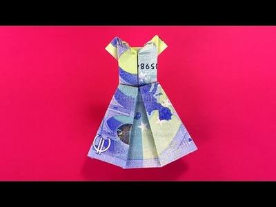Geldschein falten Kleid - Brautkleid zum Geldgeschenke basteln zur Hochzeit - Origami mit Geld