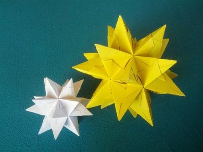 Sterne basteln aus Papier. Origami Bascetta Stern