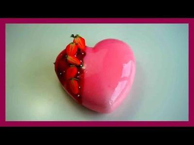 Mirror glaze - Hibiskus - Erdbeer Sahne Torte mit Spiegelglasur - Glacage Miroir Cake - Kuchenfee