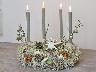 DIY - Adventskranz I Stacheldrahtpflanze, Zapfen, Naturdeko, Glasanhänger I LED Lichterkette