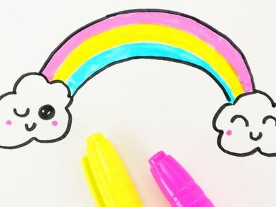 KAWAII REGENBOGEN DIY zeichnen | niedlicher bunter Regenbogen mit Wolken | Geburtstage