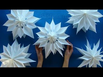 Sterne basteln mit Papier-Butterbrottüten zu Weihnachten. Einfache DIY Weihnachtssterne falten. Deko