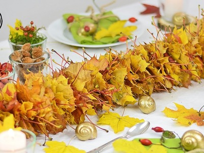 DIY - Herbstdeko I Girlande aus Herbstlaub selber machen I Basteln mit Kindern I Tischdeko