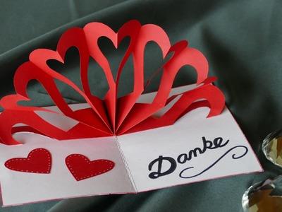 Herz – Klappkarte, heart – pop up card, Muttertag, Hochzeit, Valentinstag, Geburtstag