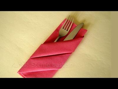 Servietten falten: Bestecktasche - Tischdeko - Weihnachten - Weihnachtsdeko