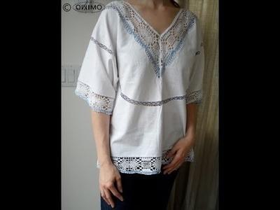 Hippie Bluse aus Tischtuch selber machen - OWIMO Design Upcycling