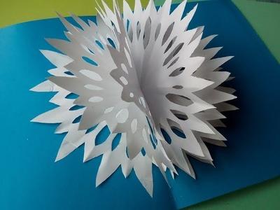 3D-Weihnachtskarten mit Schneeflocken aus Papier selber machen. Pop Up Karten  DIY