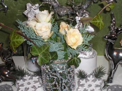 DIY - Cooles Windlicht. Vase  mit Farben und Perlen Silvesterdeko. Weihnachtsdeko