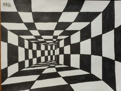 3D Art. drawing a tunnel